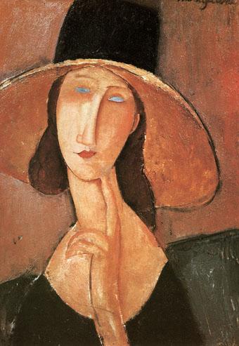 Amedeo Modigliani Portrait of a Woman in Hat (Jeanne Hebuterne in Large Hat) 1917