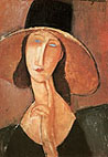 Amedeo Modigliani Portrait of a Woman in Hat (Jeanne Hebuterne in Large Hat) 1917