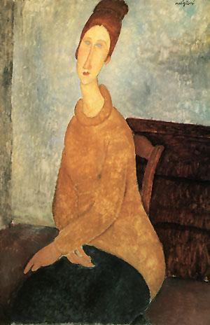 Amedeo Modigliani Jeanne Hebuterne in a Yellow Sweater 1918- 1919