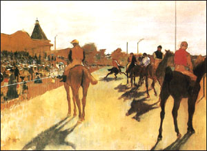 Edgar Degas Race Horses in Front of the Grandstand c 1866
