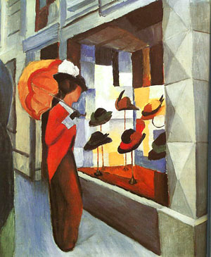 August Macke Before the Hat Shop