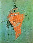 Amedeo Modigliani Head of Young Woman 1915