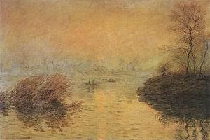 Claude Monet Sunset at Lavacourt 1880