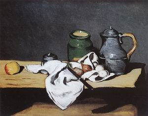 Paul Cezanne Still Life with Green Pot and Pewter Jug 1870