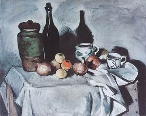 Paul Cezanne Vase Bottle Cups and Fruit 1871