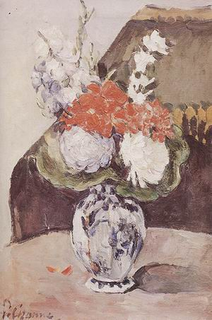 Paul Cezanne Flowers in a Small Delft Vase 1873