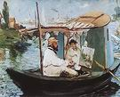 Edouard Manet Monet Painting in His Floating Studio 1874