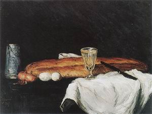 Paul Cezanne Still Life with Pitcher Bread Eggs and Glass 1865
