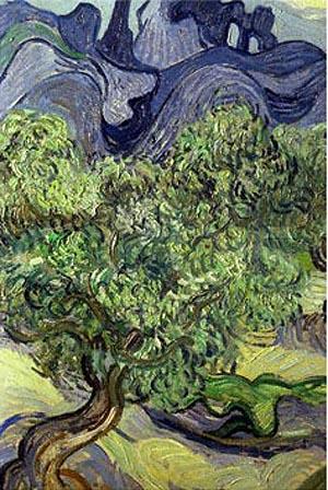 Vincent van Gogh Olive Trees in a Mountain Landscape -Detail
