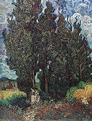 Vincent van Gogh Cypresses with Two Women 1889