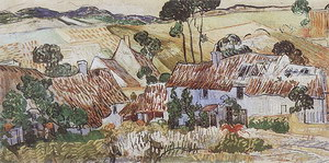 Vincent van Gogh Thatched Houses against a Hill 1890