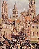 Camille Pissarro The Old Market and the Rue de l Epicerie Rouen Morning Grey Weather 1898