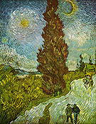 Vincent van Gogh Road with Cypress and a Star 1890