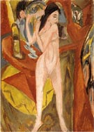 Ernst Ludwig Kirchner Nude Combing Herself 1913
