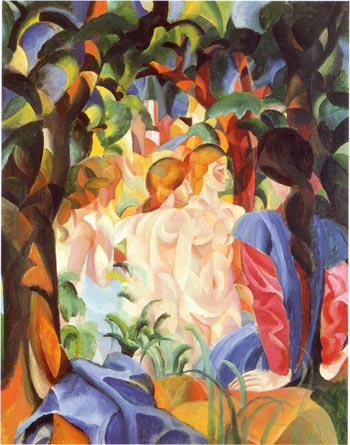 August Macke Women Bathing with a City in the Background 1913