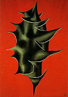 Fernand Leger Holly Leaf on Red Background 1928