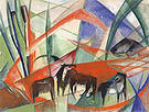 Franz Marc Landscape with Black Horses 1913