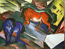 Franz Marc Red Horse and Blue Horse 1912