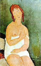 Amedeo Modigliani Red-Haired Young Woman in Chemise 1918