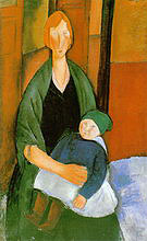 Amedeo Modigliani Seated Woman with Child 1919