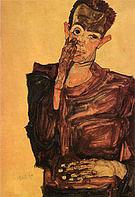 Egon Scheile Self-Portrait Pulling Cheek  1910