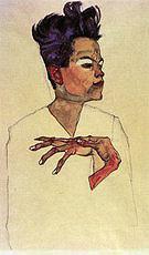 Egon Scheile Self-Portrait with Hands at Chest  1910