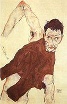 Egon Scheile Self-Portrait with Raised Right Elbow  1914