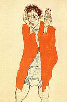 Egon Scheile Self-Portrait with Raised Arms 1914