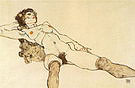 Egon Scheile Reclining Woman with Legs Apart  1914