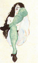Egon Scheile Female Nude with Green Stockings 1912