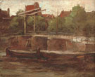 Piet Mondrian Waals-Eilandgracht with Bridge and Flat Barges  1895-6