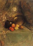 Piet Mondrian Still Life  Apples Pot with Flowers and Metal Pan 1900