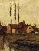 Piet Mondrian Three Italian Poplars and Buildings