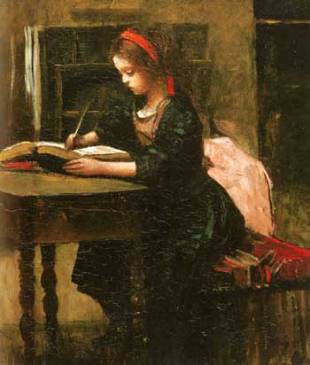 Jean Baptiste Corot Fillette a l'etude en train d'ecrire
