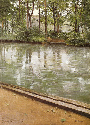 Gustave Caillebotte The Yerres Rain River Bank in the Rain 1875