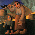 Kazimir Malevich Woman with Buckets and a Child  1912