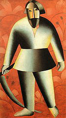 Kazimir Malevich Reaper Aagainst a Red Background c1912