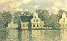 Claude Monet Houses on the Waterfront Zaandam 1871