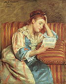 Mary Cassatt Mrs Duffee Seated on a Striped Sofa Reading 1876