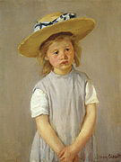 Mary Cassatt Little Girl in a Big Straw Hat and a Pinafore 1886