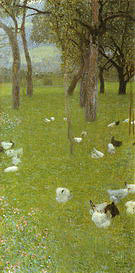 Gustav Klimt After The Rain Garden with Chickens in St Agatha 1898