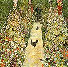 Gustav Klimt Garden Path with Chickens 1916
