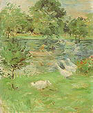 Berthe Morisot Girl in a Boat with Geese 1889