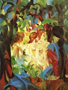 August Macke Girls Bathing with Town in Background 1913