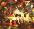 August Macke Landscape with Cows and Camel 1914