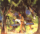 August Macke Man Reading in a Park 1914