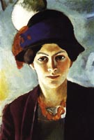 August Macke Portrait of the Artists Wife with Hat 1909