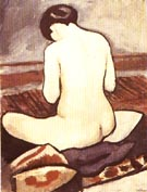 August Macke Sitting Nude with Cushions 1911