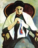 August Macke Woman Embroidering in an Armchair Portrait of the Artists wife 1909