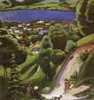August Macke Tegernsee Landscape with Man Reading and Dog 1910